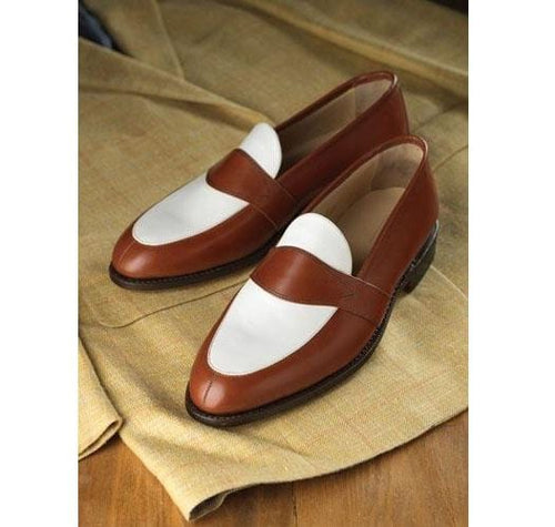 leather404 Clothing, Shoes & Accessories:Men's Shoes:Dress Shoes Handmade Men Brown white leather slip owns shoes