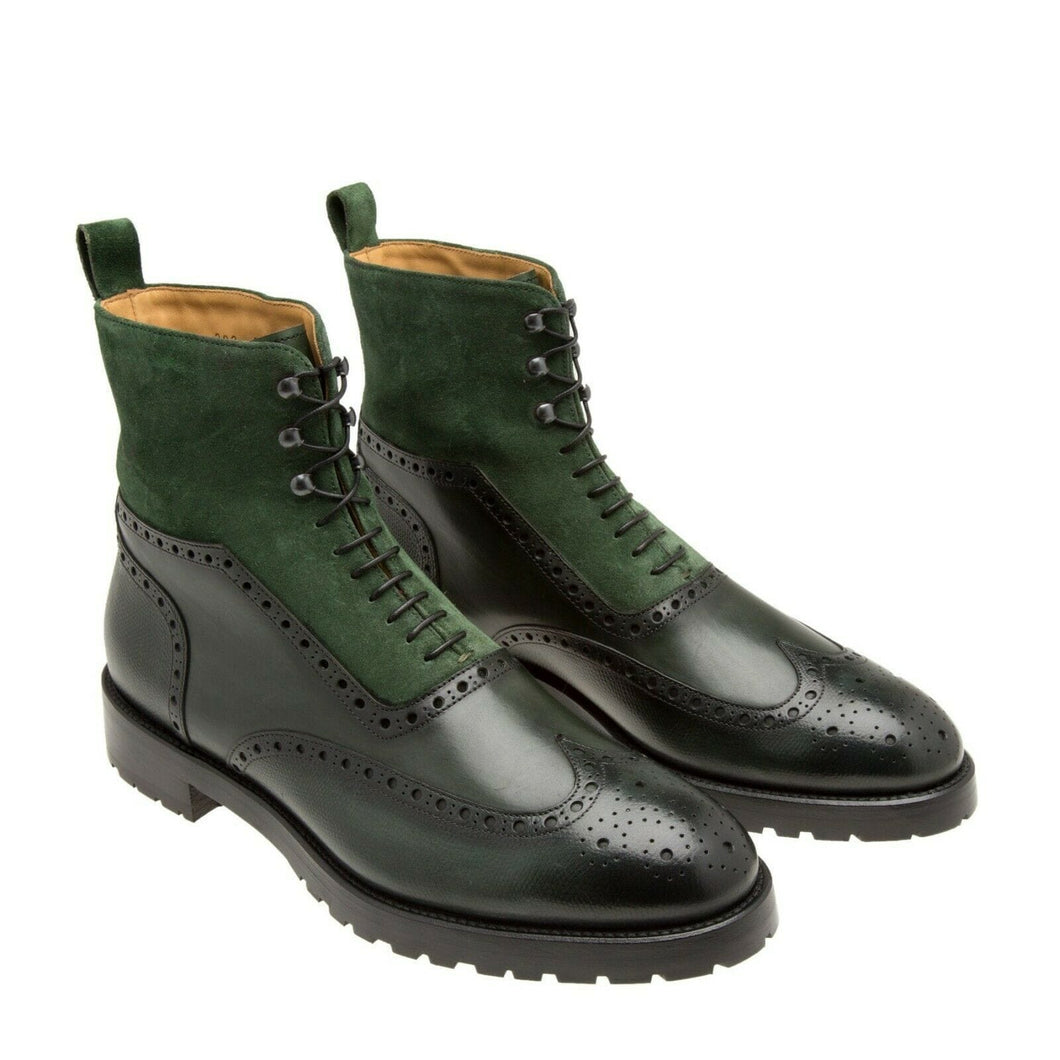 leather404 Clothing, Shoes & Accessories:Men's Shoes:Boots Handmade Green Suede Leather Wing Tip Boot