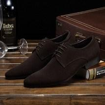 leather404 Clothing, Shoes & Accessories:Men's Shoes:Dress Shoes usa-7 Suede Lace Up Stylish Shoes Chocolate Brown Derby Stylish Shoes