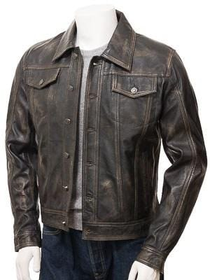 leather404 Clothing, Shoes & Accessories:Men's Clothing:Coats & Jackets Men's Genuine Vintage Leather Jeans Jacket Unique Brown Slim Motorcycle jackets