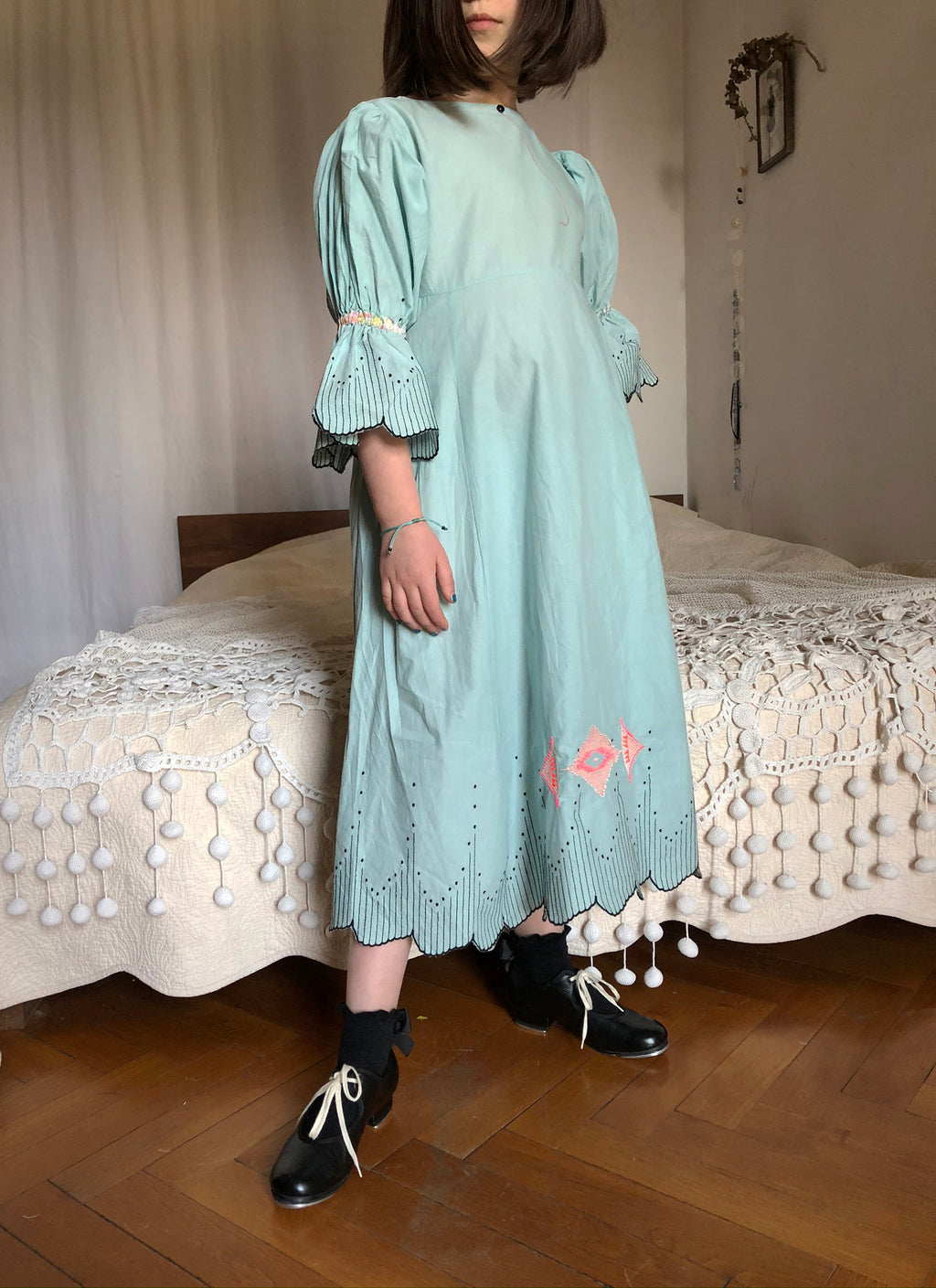 Aqua embroidered batiste dress