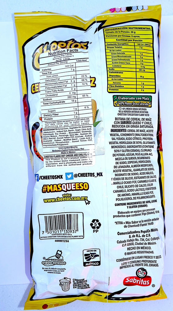 Sabritas Cheetos Xtra Flamin Hot, Mexican Chips 145g - Sol Dias