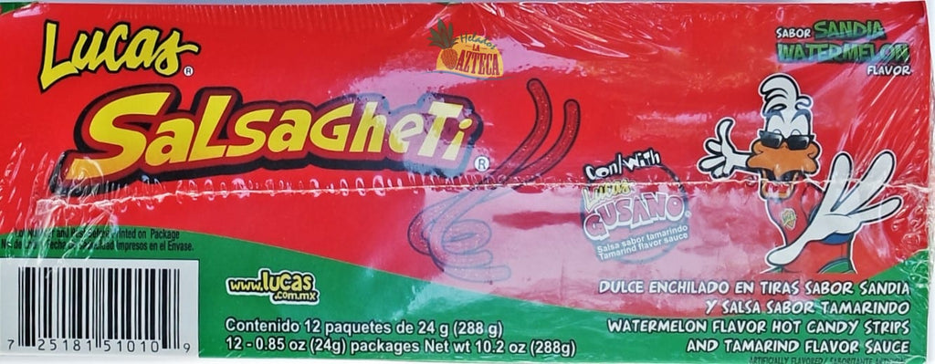 Lucas Salsagheti Watermelon 12 ct | Stringy Mexican Candy - Sol Dias