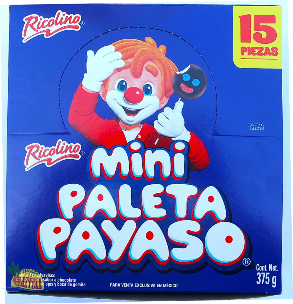 Ricolino Paleta Payaso Mini 15 ct | Mexican Marshmallow Chocolate - Sol Dias
