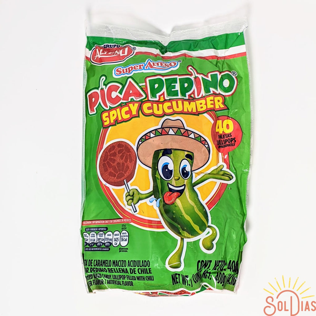 Pica Pepino Paleta Spicy Cucumber 40 ct |  Hard Mexican Lollipop - Sol Dias