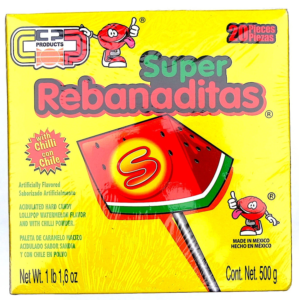 Super Rebanaditas Sandia 20 ct | Mexican Lollipop Candy - Helados La Azteca