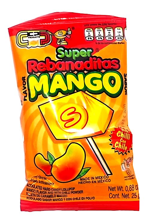 Super Rebanaditas Mango 20 ct | Mexican Lollipops - Helados La Azteca
