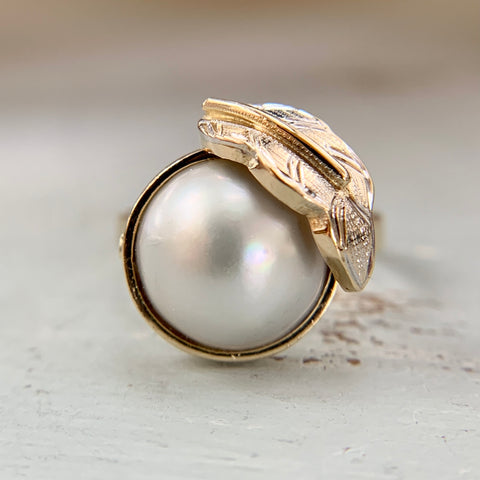 Mabe Pearl Leaf Ring 14k