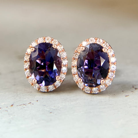 Iolite and Diamond Halo Earrings 14k Rose Gold