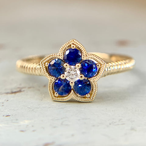 Sapphire and Diamond Flower Ring 14k