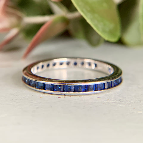 Platinum Carré Cut Sapphire Eternity Band