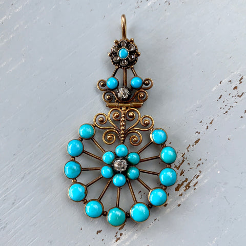 Victorian Turquoise and Old Cut Diamond Pendant 15k/Silver