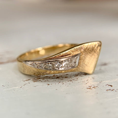 Abstract Diamond Florentine Finish Ring 18k