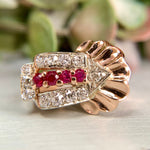 Retro Old Mine Diamond and Ruby Ring 14k