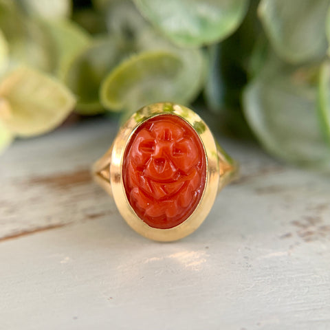 Carved Orange-Red Coral Ring 18k