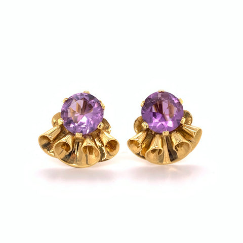 1949 Finnish Amethyst Earrings 18k