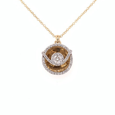 Diamond Disc Necklace 14k