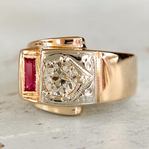 Old Mine Diamond and Synthetic Ruby Buckle Ring 14k