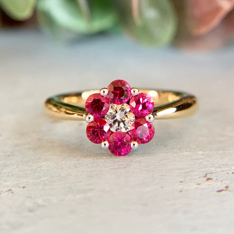 Spark Creations 18k Ruby and Diamond Cluster Ring
