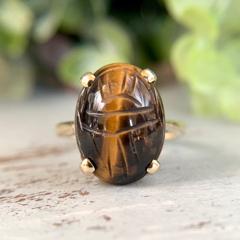 Tigers Eye Scarab Ring 14k