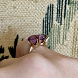 RESERVED- Installment 1 of 2-Vintage Double Amethyst Ring 14k