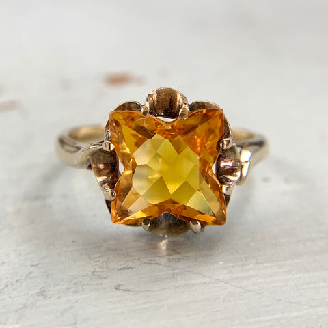 Synthetic Yellow Sapphire Ring 10k