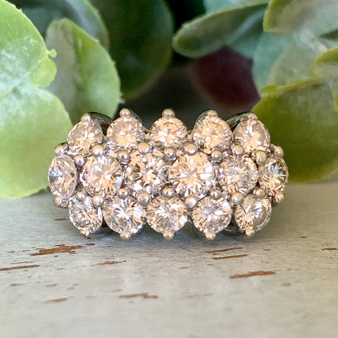 3 Row 2.5ctw Diamond Band 14k