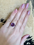 Round Old Cut Amethyst Ring 14k