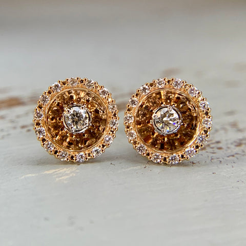 Diamond Disc Earrings 18k