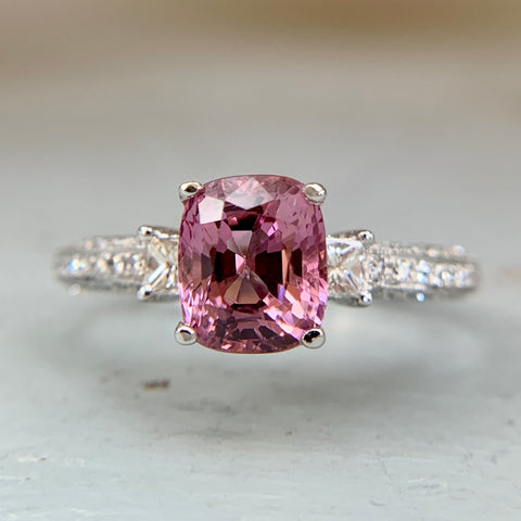 Pink Spinel and Diamond Ring 14k