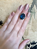 Synthetic Peacock Blue Spinel Ring 10k