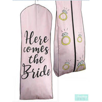 Light Pink Garment Bag - Here Comes the Bride Ring Garment Bag, Wedding Gown Bags, Bride Garment Bags