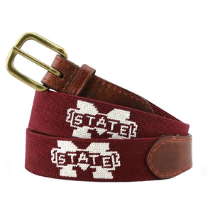 Smathers & Branson Men's Needlepoint Belt (Mississippi State)