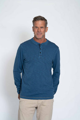 True Grit Venice Slub Long Sleeve Henley (Cosmo Blue)