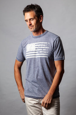 True Grit American Flag Bowery Burnout Tee (Dark Navy)