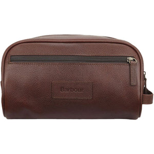 Barbour Leather Washbag (Dark Brown)