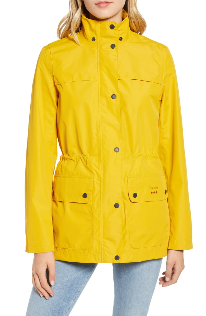 Barbour Women's Rain Jacket in Yellow - Water Resistant With Pockets
