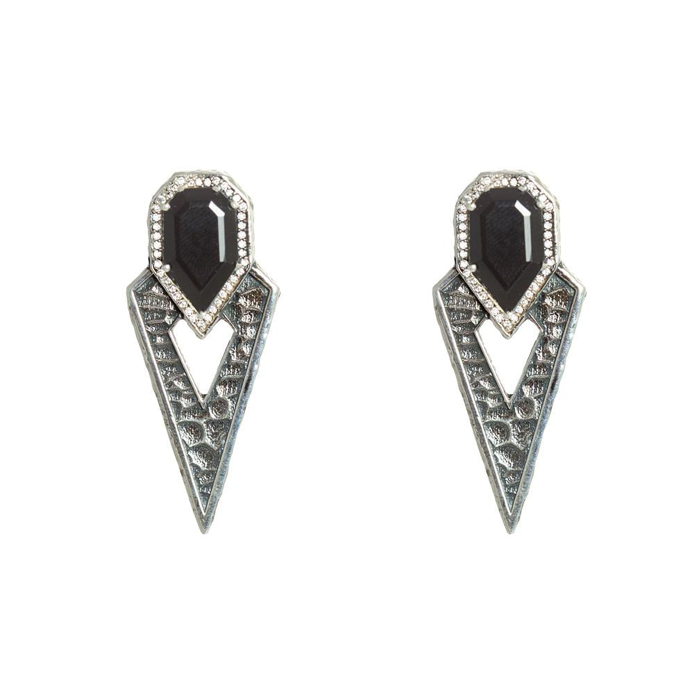 Tat2 Designs Vintage Silver & Onyx Earrings
