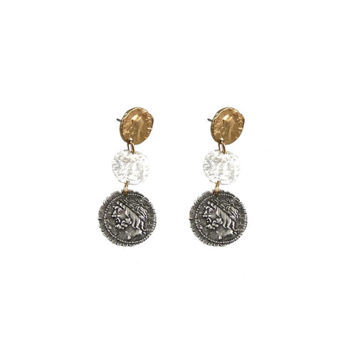 Tat2 Designs 3 Roman Coin Drop Earring
