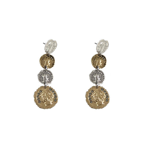Tat2 Designs 4 Roman Coin Drop Earrings