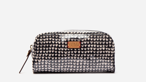 Frances Valentine Small Cosmetic Bag in Heart Print