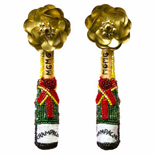 Mignonne Gavigan Champagne Earrings (Green & Gold)