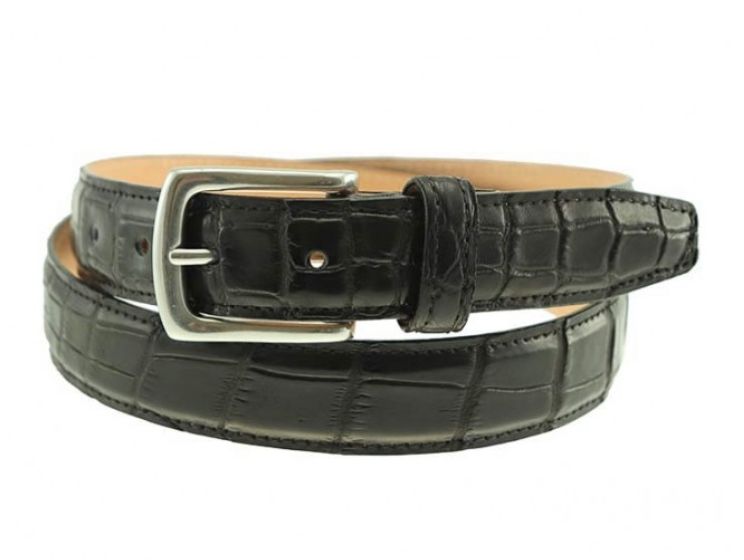 T.B. Phelps Torrence Alligator Dress Belt (Black)