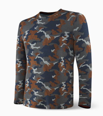 Saxx Sleepwalker Long Sleeve Tee (Navy Wood Grain Camo)