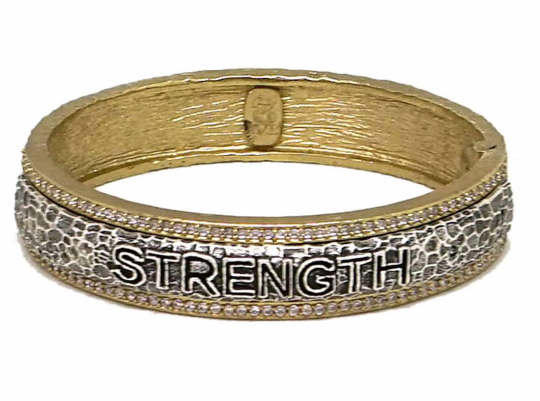 Tat2 Designs Strength Bangle Bracelet (Gold)