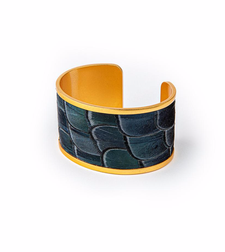 Brackish Sue Pheasant Feathers Wide Cuff Bracelet