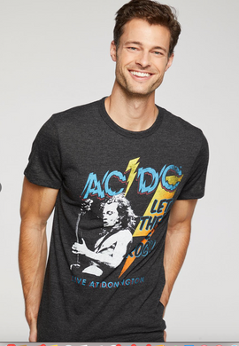 Chaser Mens Triblend Crew Neck AC/DC Tee Black