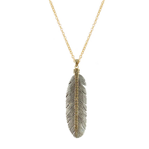 Tat2 Vintage Silver Feather Necklace