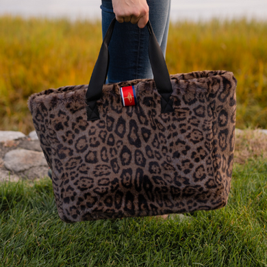 Pretty Rugged Faux Fur Oversized Tote (Leopard)