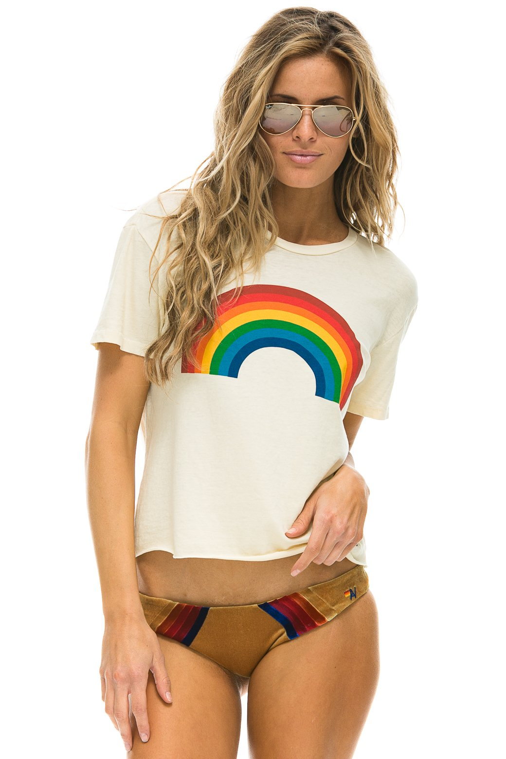 Aviator Nation Rainbow Boyfriend Tee (Vintage White)